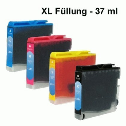 Alternativ LC970 / LC1000 je 37ml XXL 4 Set für Brother MFC